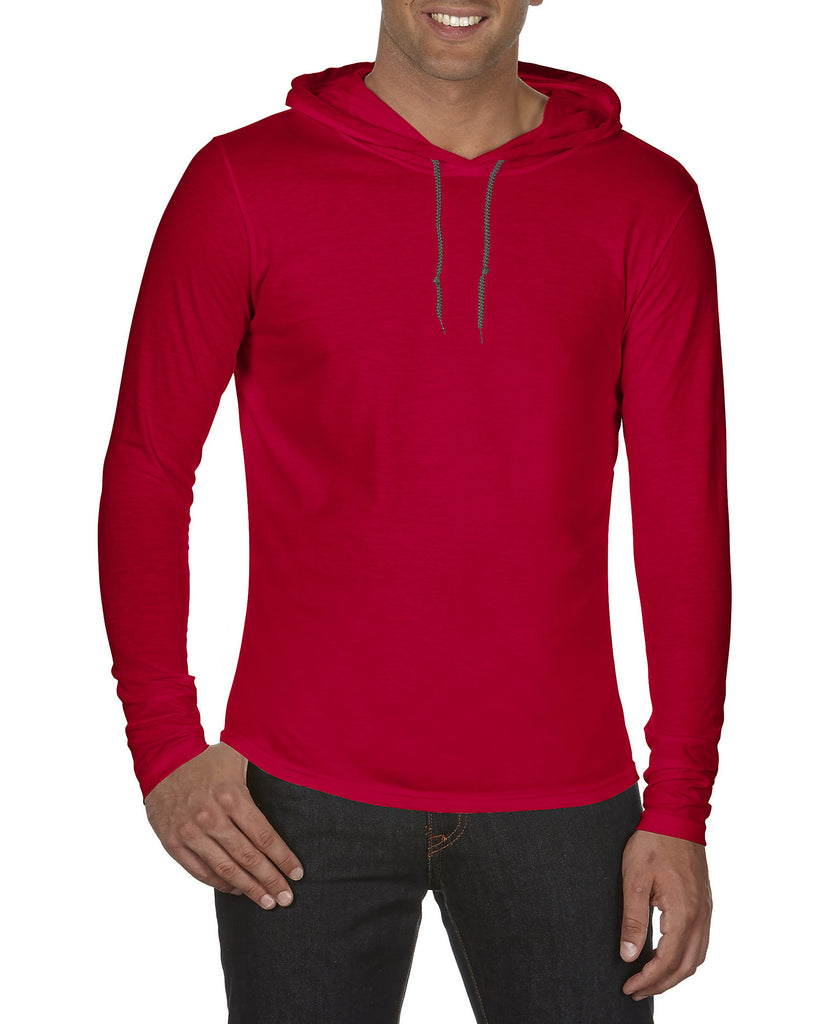 ANVIL Adult Lightweight Long Sleeve Hooded Tee A987 - guyos apparel.com