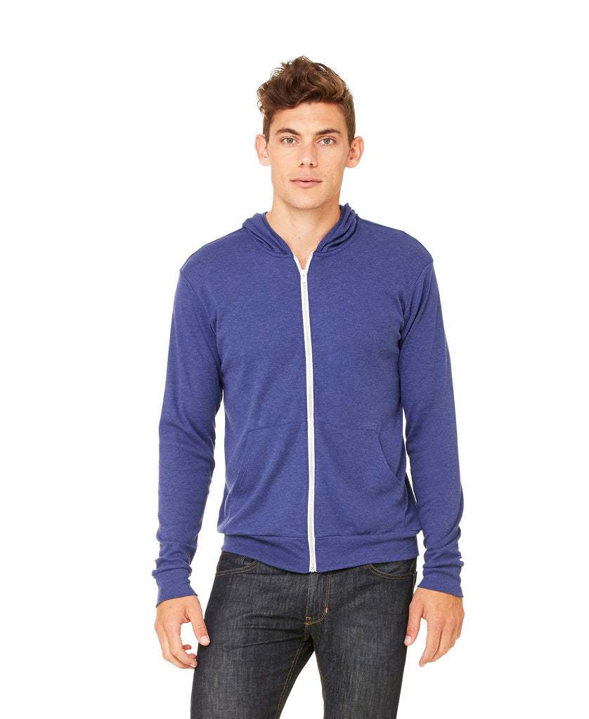 BELLA CANVAS Unisex Triblend Full-Zip Lightweight Hoodie B3939 - guyos apparel.com