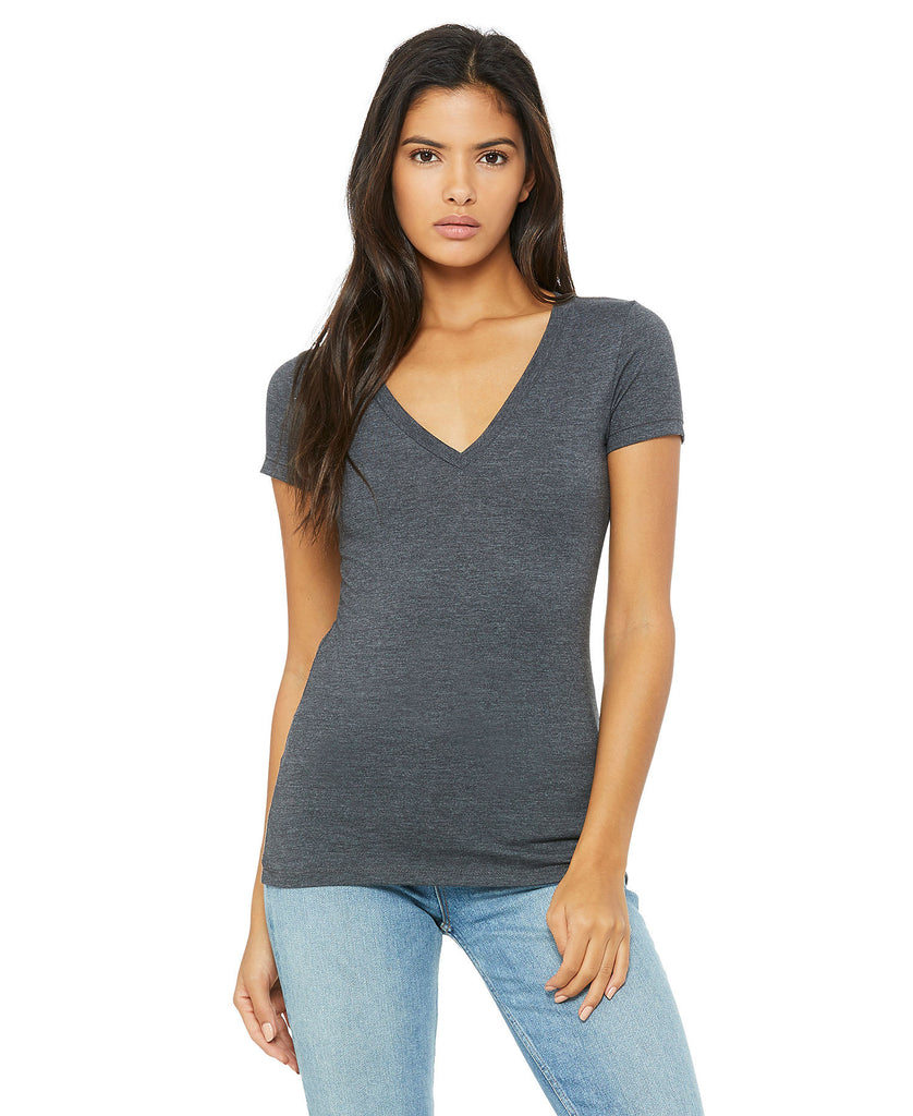 BELLA CANVAS Women's Jersey Short Sleeve Deep V-Neck Tee B6035 - guyos apparel.com