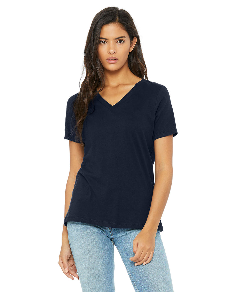 BELLA CANVAS Women's Relaxed Jersey Short Sleeve V-Neck Tee B6405 - guyos apparel.com