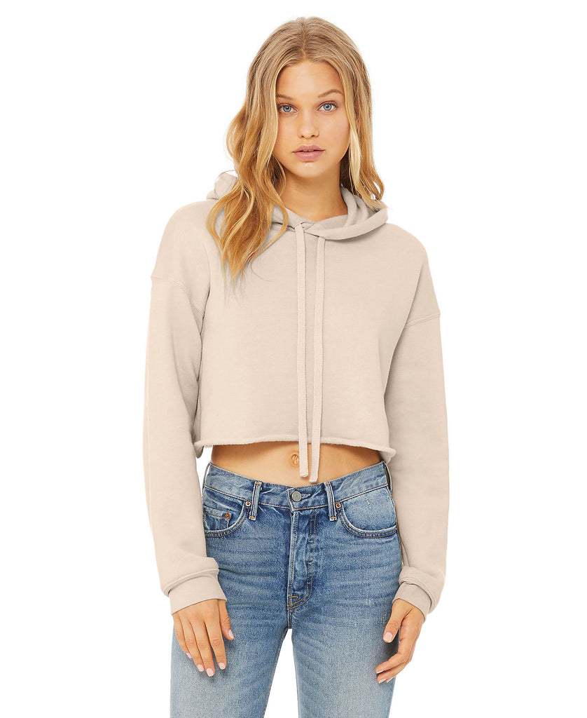 Bella Women's Cropped Fleece Hood B7502 - guyos apparel.com