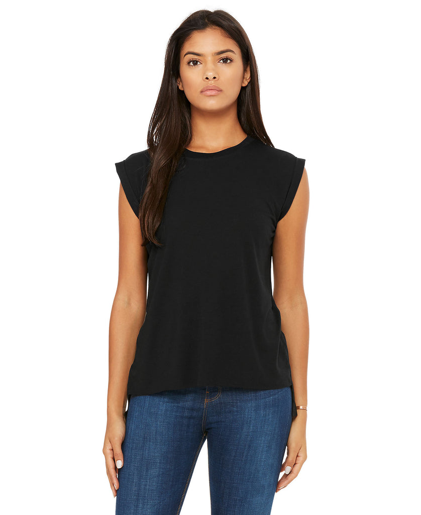 BELLA CANVAS Women's Flowy Muscle Tee with Rolled Cuff B8804 - guyos apparel.com