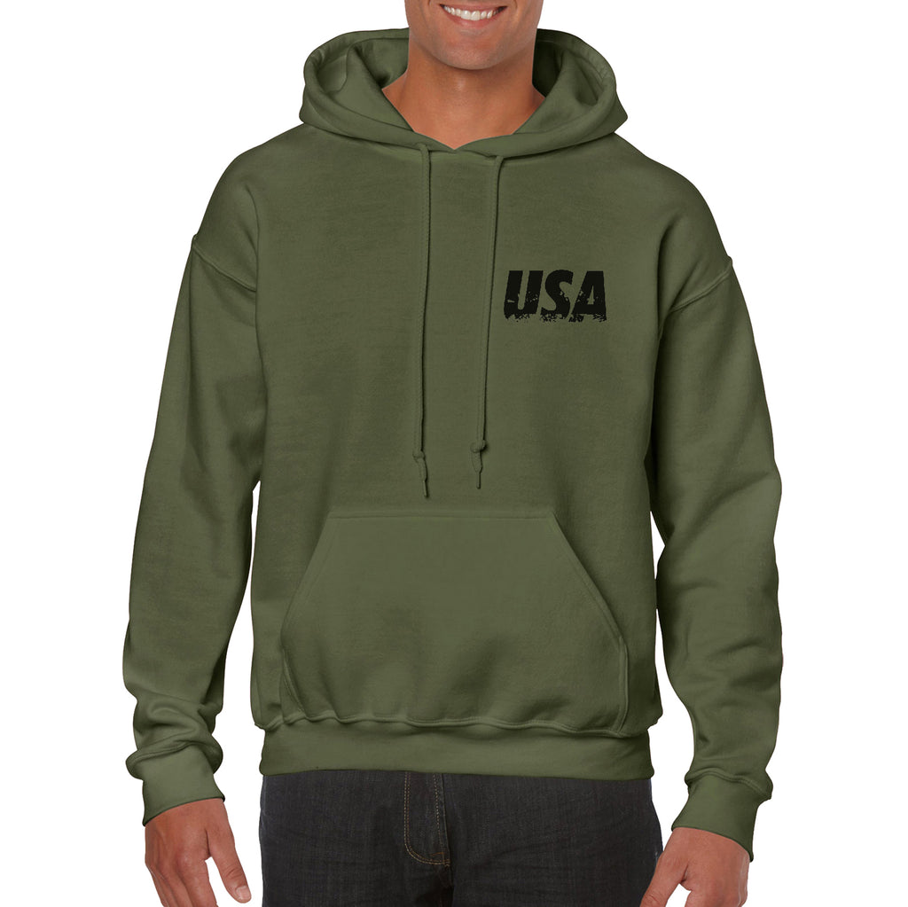 Hoodie Back and Front American distressed Flag USA Great outdoor Gift Hooded