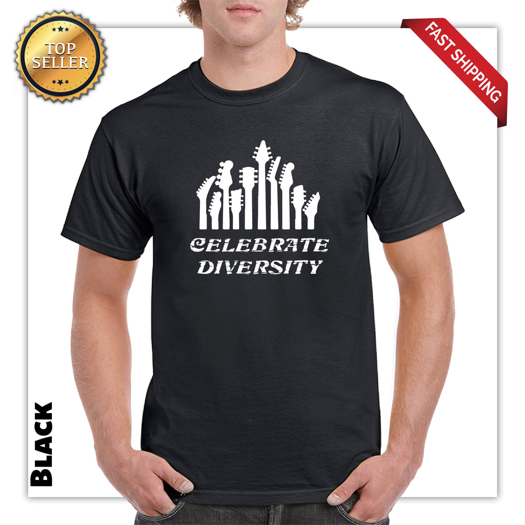 Celebrate Diversity Celebrate Guitar Adult Very Funny Printed T-Shirt - guyos apparel.com