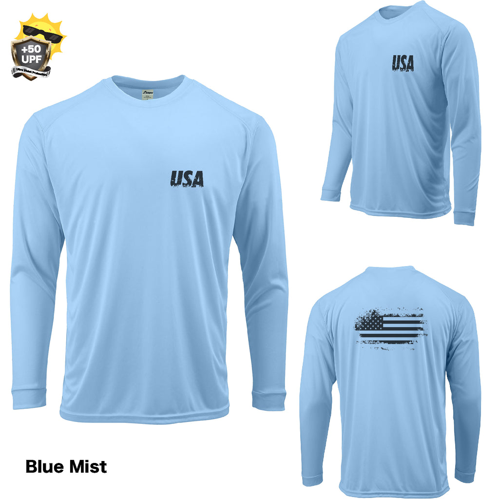 +50 UPF Adult Long Sleeve DISTRESSED AMERICAN FLAG USA Performance FISHING  BOAT T SHIRT