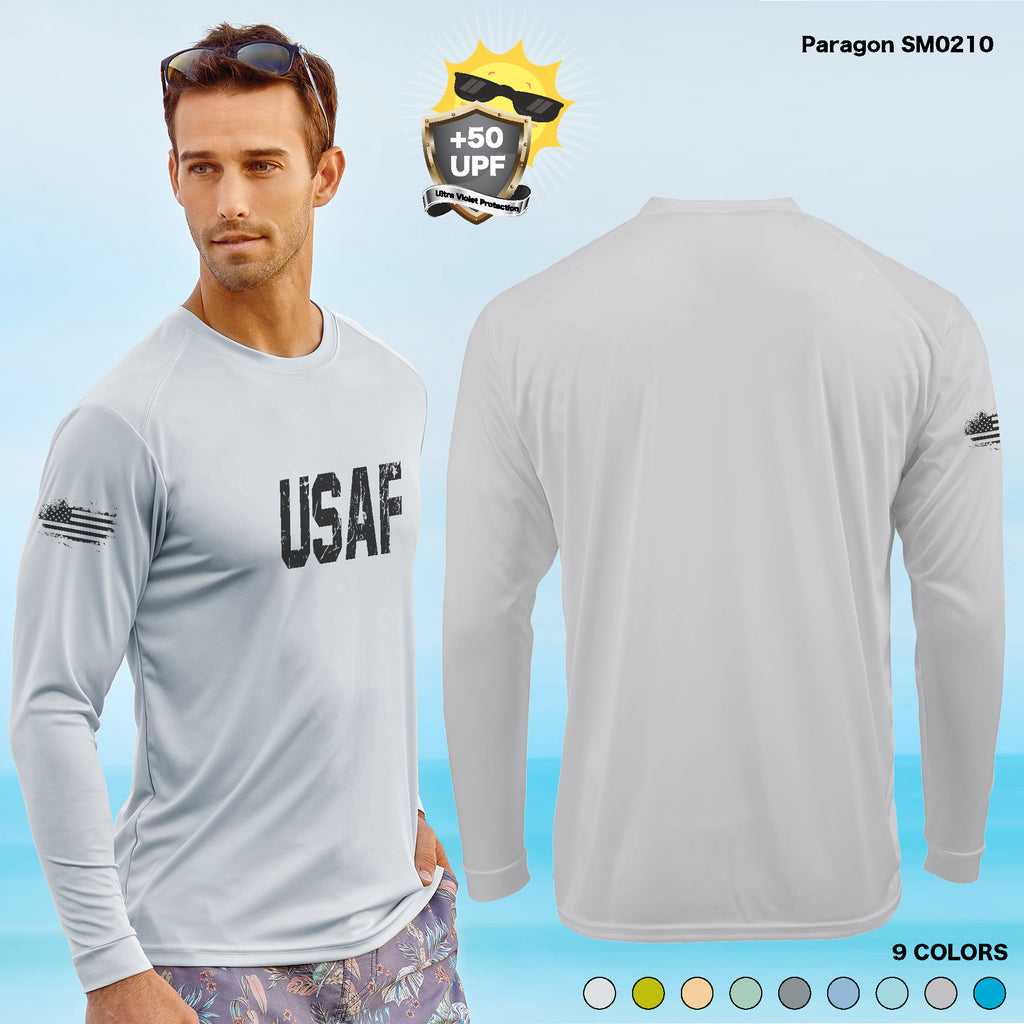 +50 UPF Long Sleeve DISTRESS USAF USA AIR FORCE Performance FISHING BOAT front and sleeve Print T SHIRT