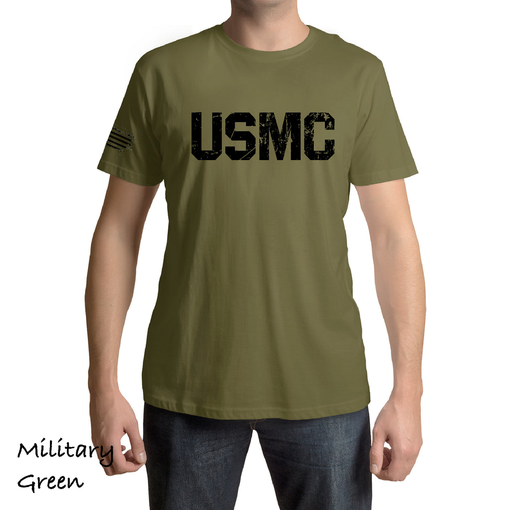 Front And Sleeve Distressed USMC American Flag marines Patriot army military force Gift t shirt