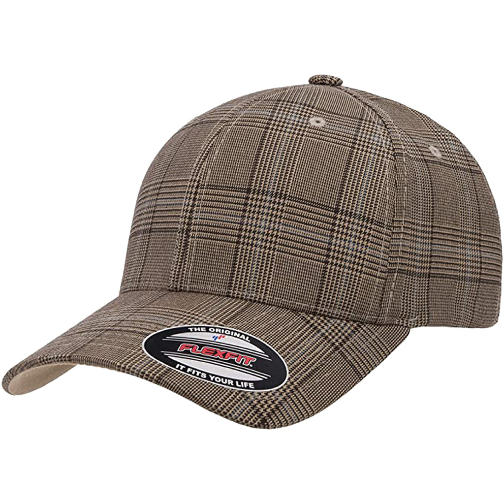 Flexfit 6196 Fitted Ball cap Blank Cap Blank Golf Glen Check Hat Plaid Flex Fit