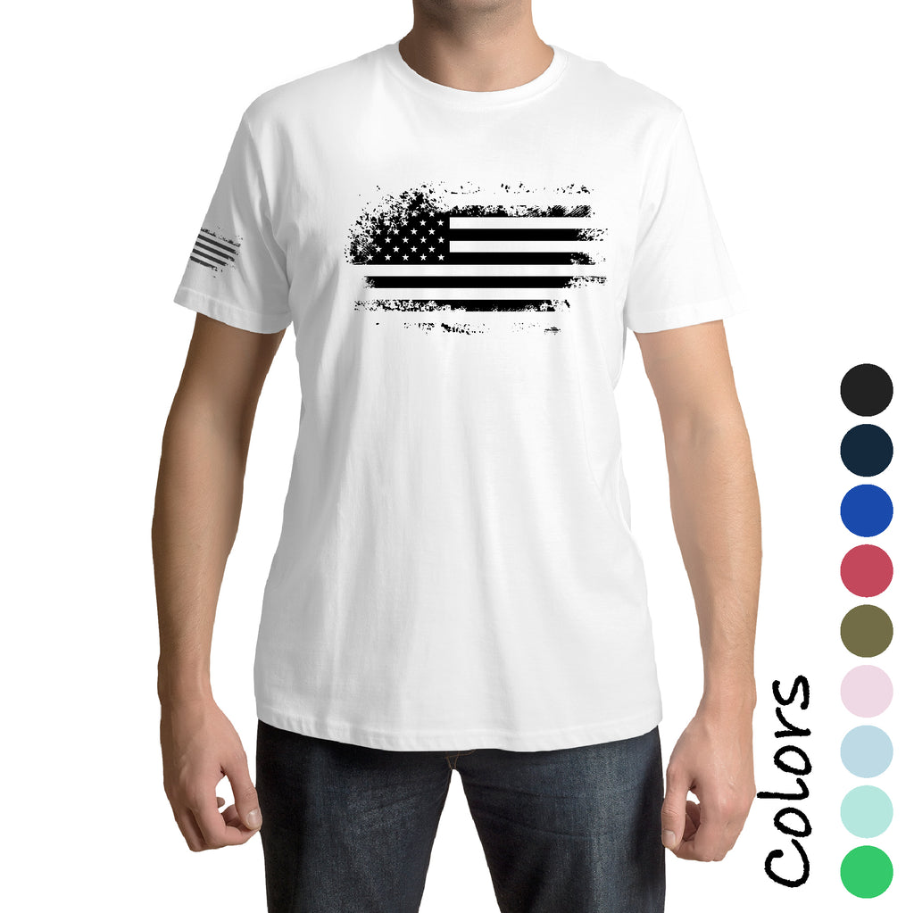 Front And Sleeve Distressed American Flag  Patriot army military force Gift t shirt