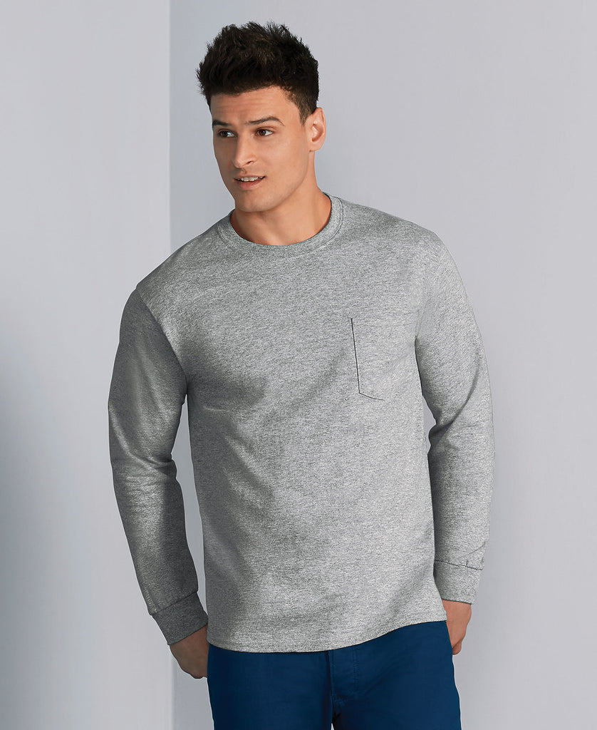 Gildan Ultra Cotton Adult Long Sleeve Tee with Pocket G2410 - guyos apparel.com