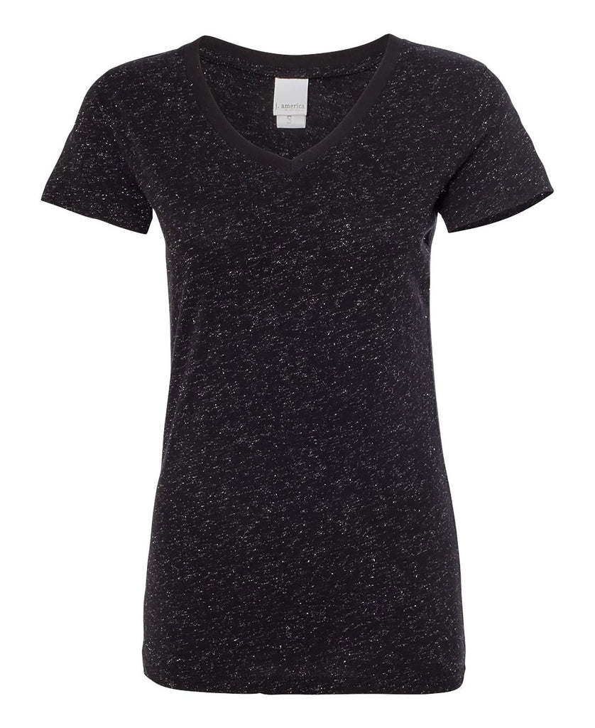 J America Ladies' Glitter V-Neck Tee JA8136 - guyos apparel.com