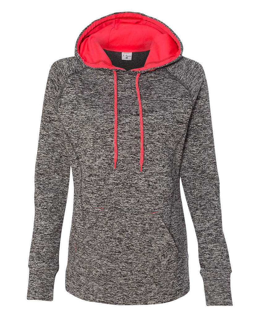J America Ladies' Cosmic Contrast Pullover Hooded Fleece JA8616 - guyos apparel.com