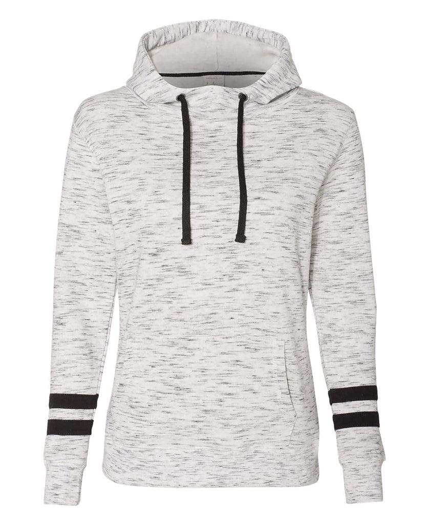 J America Ladies' Melange Fleece Scuba Hood JA8674 - guyos apparel.com