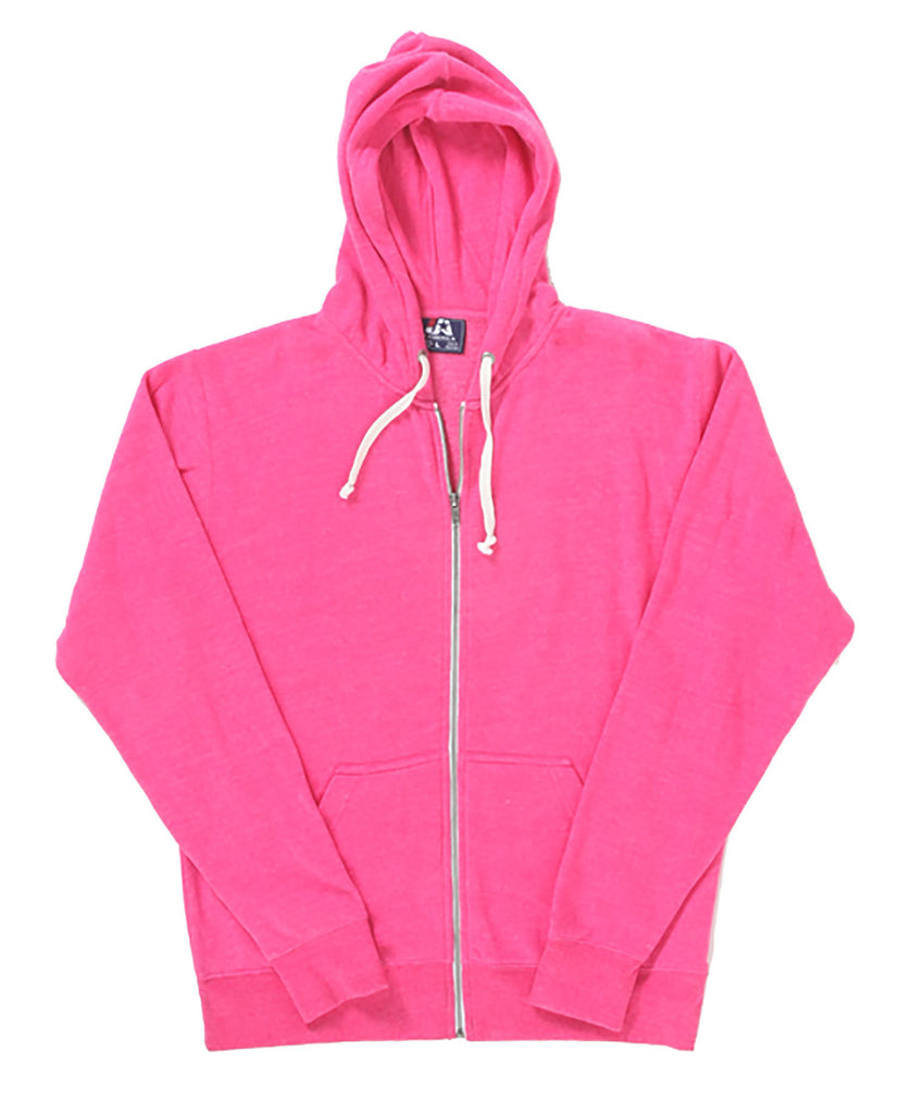 J America Adult Tri-Blend Full Zip Hooded Fleece JA8872 - guyos apparel.com