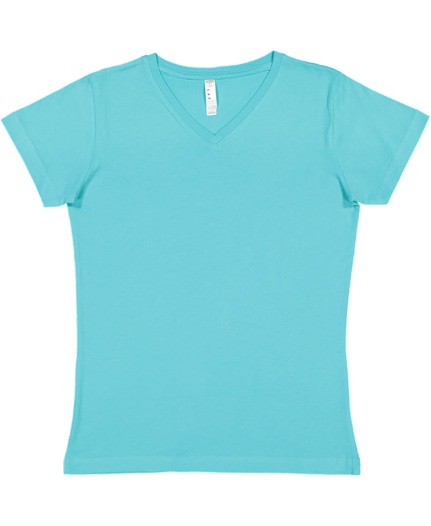 LAT Ladies' Fine Jersey V-Neck Tee LA3507 - guyos apparel.com
