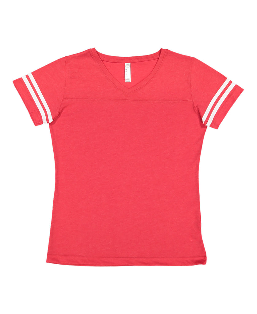 LAT Ladies' Football V-Neck Fine Jersey Tee LA3537 - guyos apparel.com