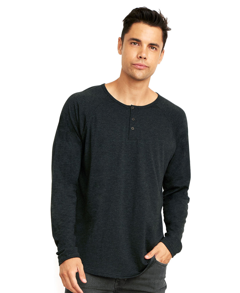 Next Level Men's Tri-Blend Long Sleeve Henley Tee NL6072 - guyos apparel.com