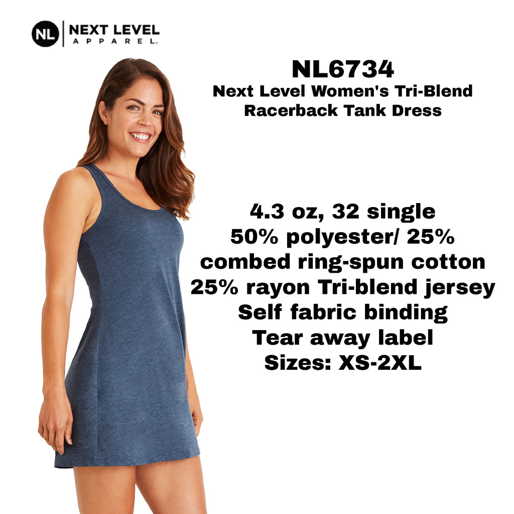 Next Level Women's Tri-Blend Racerback Tank Dress NL6734