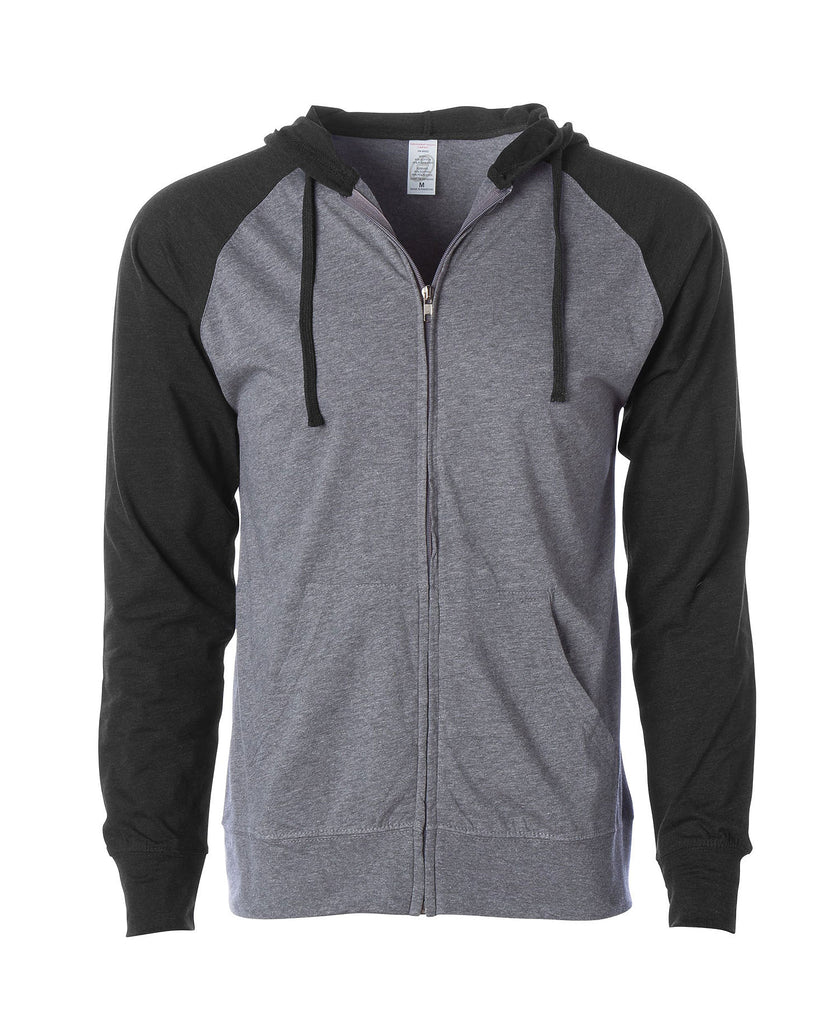 Independent Adult Lightweight Jersey Raglan Zip Hooded SS155R - guyos apparel.com