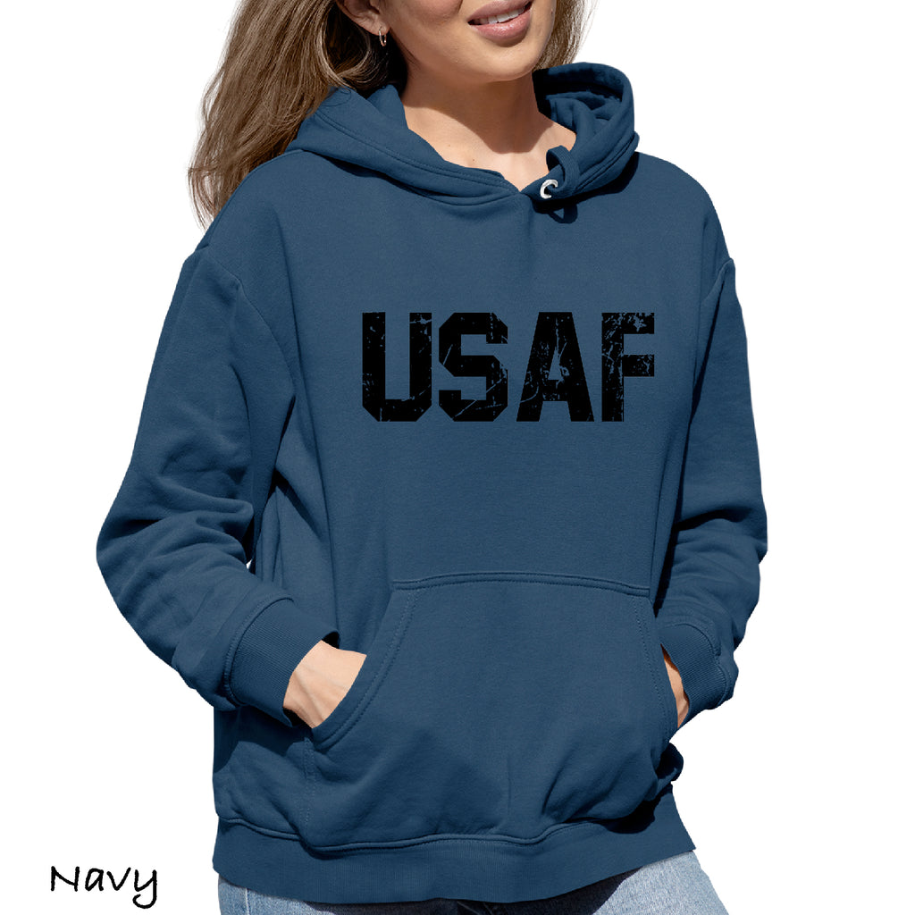 Woman's Hoodie Distressed USAF US air force Funny Gift Hooded Sweatshirt