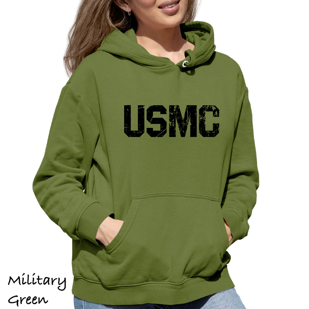 Woman's Hoodie Distressed USMC military army Funny Gift Hooded Sweatshirt