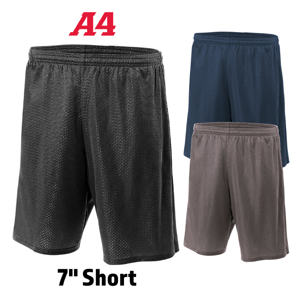 "A4 Adult basketball  players Lined Tricot Mesh 7"" Short A4N5293"