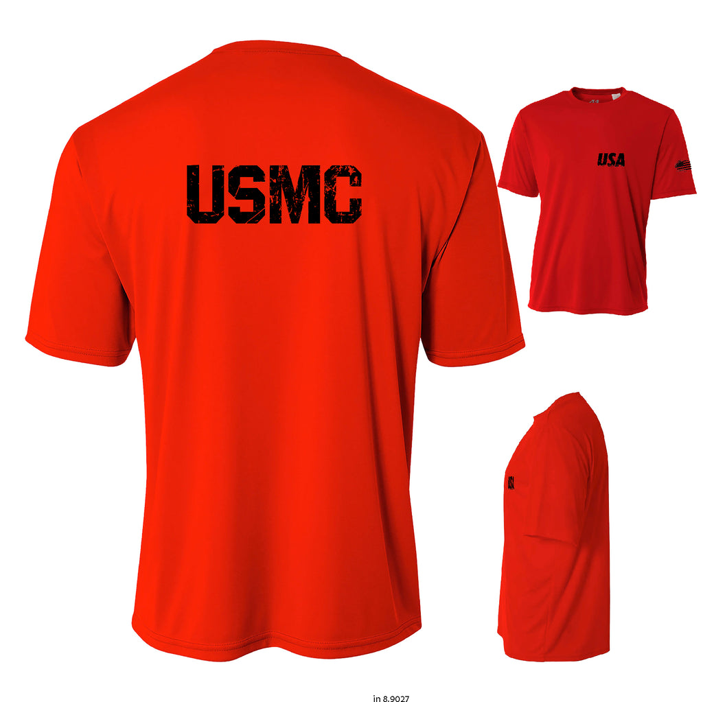 Proud American Distressed USMC Cooling Performance t shirt Moisture wicking tee
