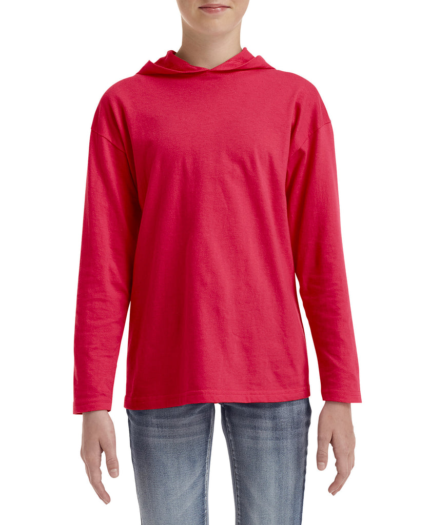 ANVIL Youth Lightweight Long Sleeve Hooded Tee A987B - guyos apparel.com