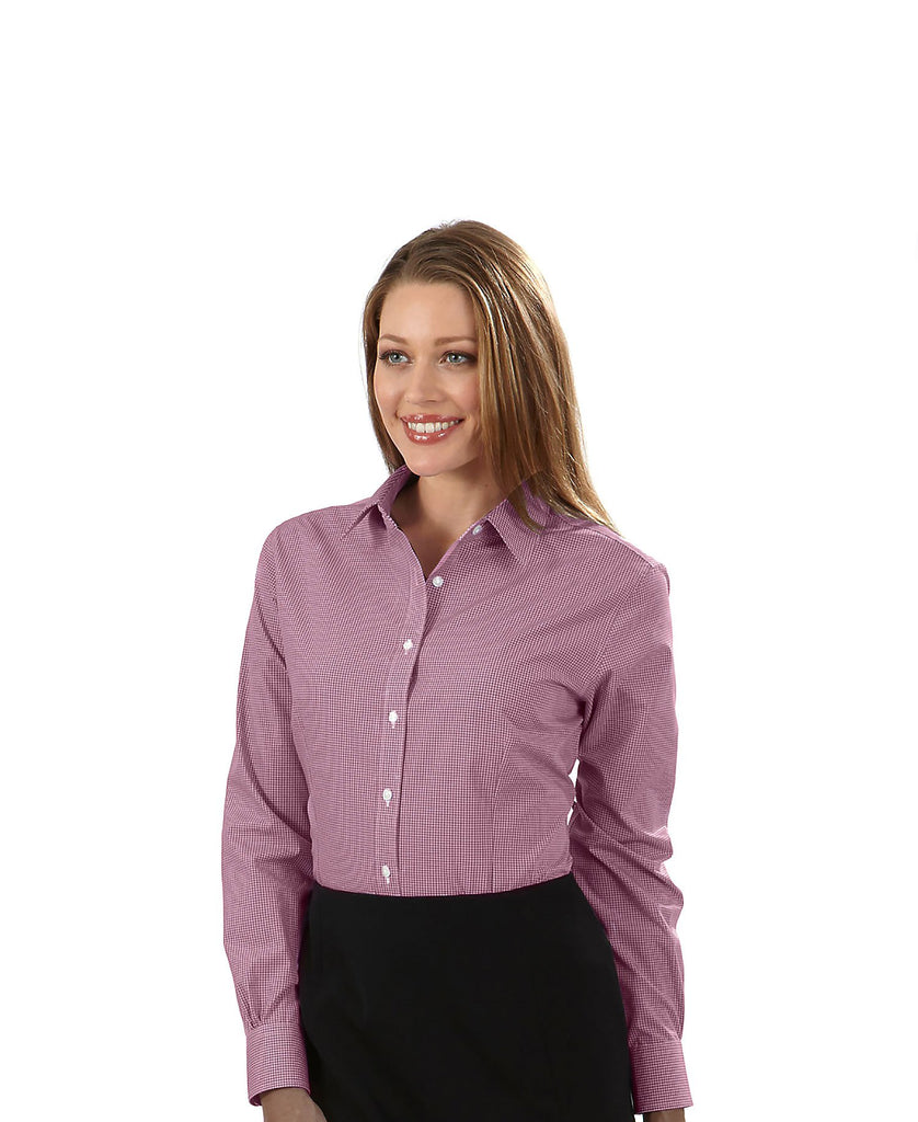 Van Heusen Ladies Gingham Long Sleeve Dress Shirt 13V0226 - guyos apparel.com