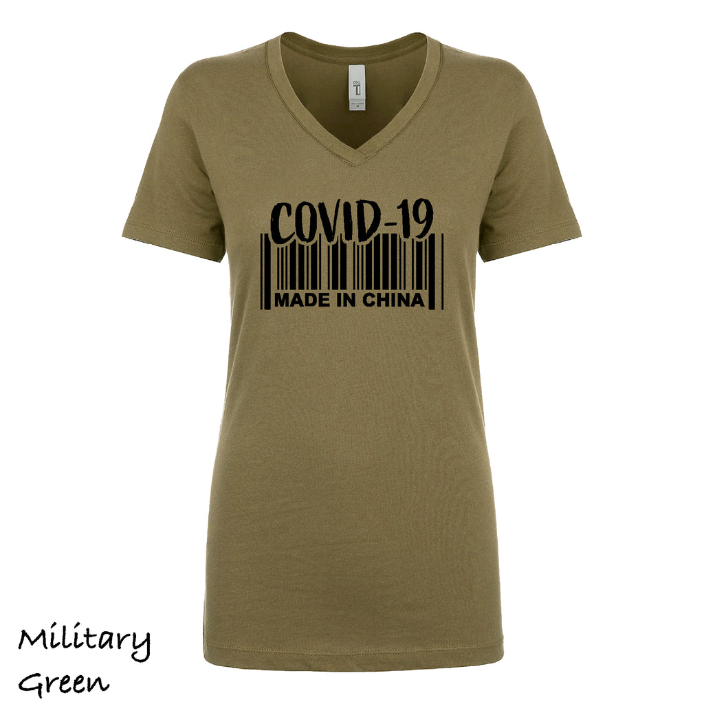 Woman's V-neck COVID MADE IN CHINA Virus, Funny, 19 Gift light weight tee