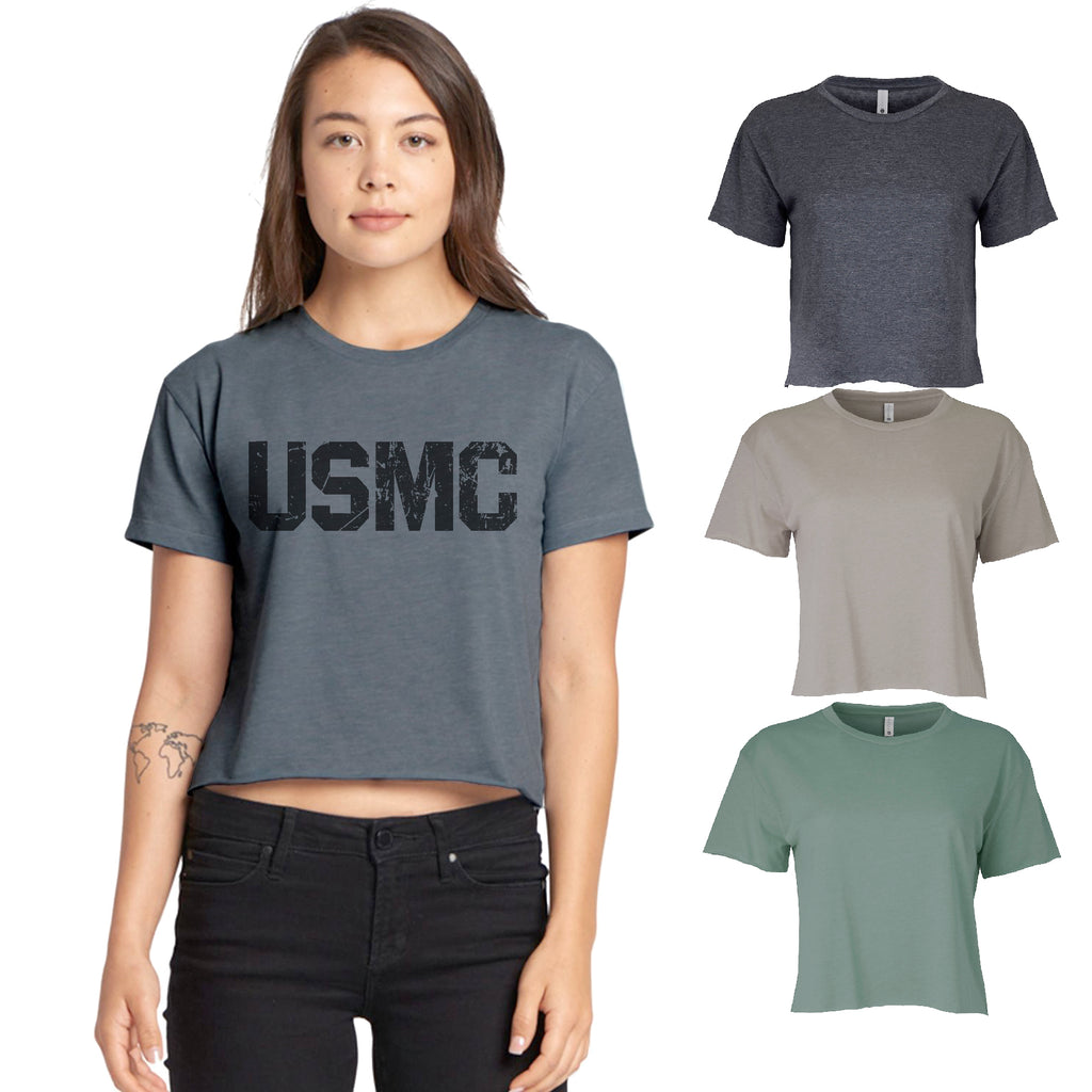 Cropped Women's Festival Cali Distressed USMC Marine Gift T shirt