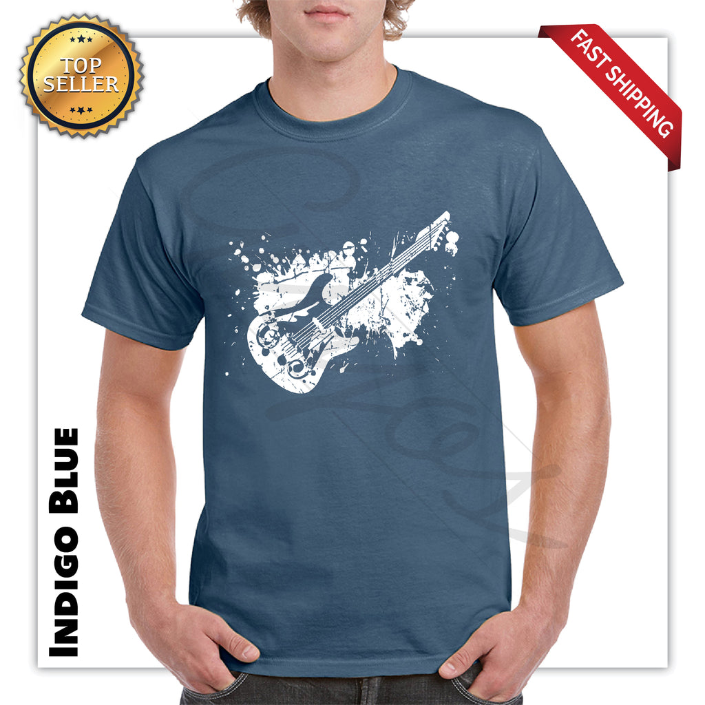 Electric Guitar Splash Funny T-Shirt For Mens