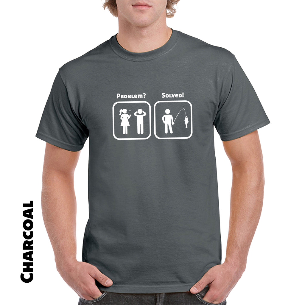 Problem Solved Fishing Marriage Funny Saying T Shirts Mens Small to 3XL - guyos apparel.com