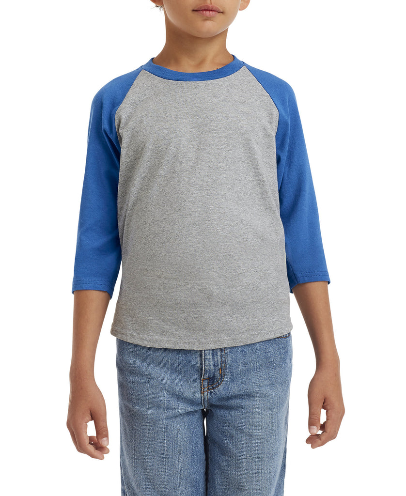 Gildan Heavy Cotton Youth 3/4 Raglan Tee G5700B - guyos apparel.com