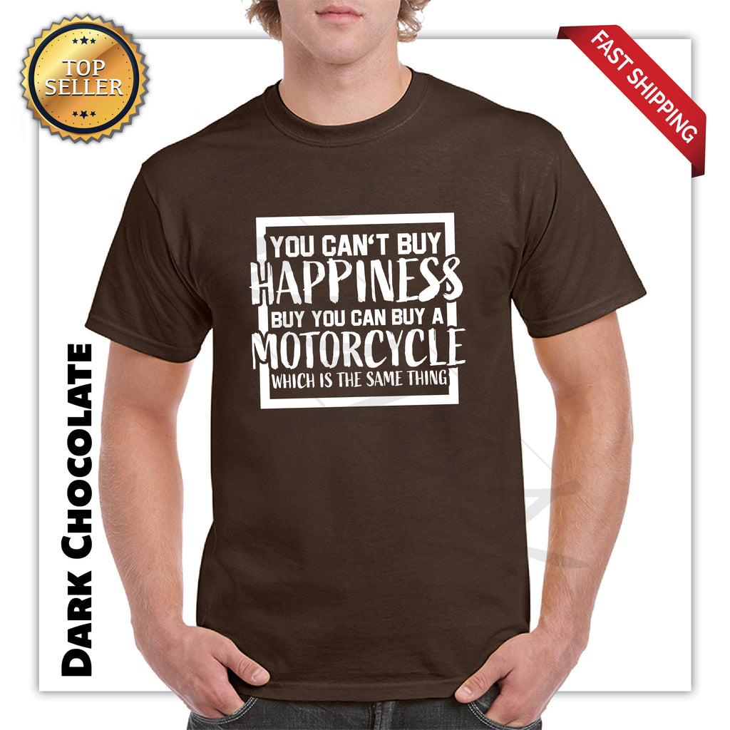 Happiness Is Motorcycle Bikers Funny Adult Printed T-Shirt - guyos apparel.com