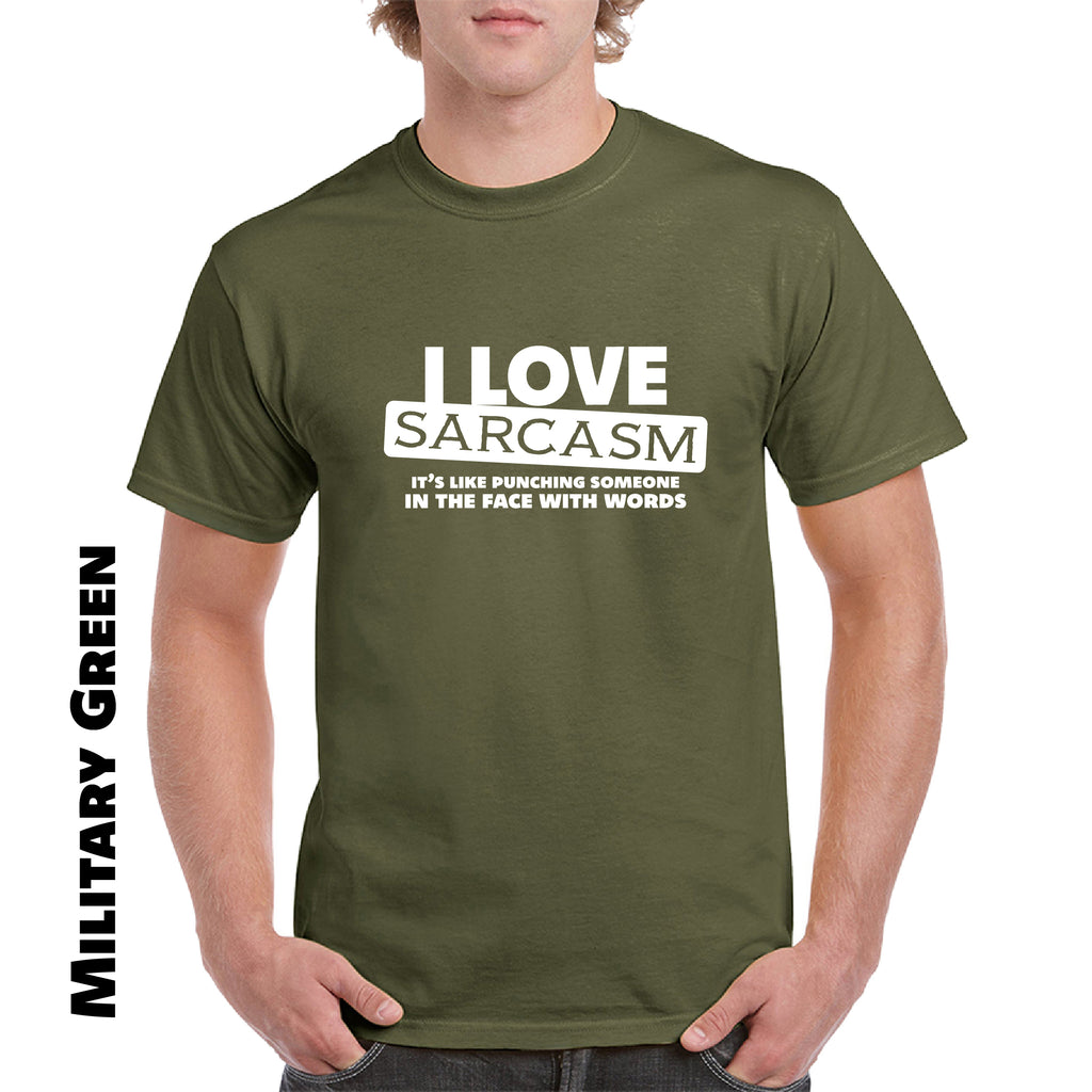 I Love Sarcasm Ttee 100% Cotton New Mens Tee Funny Sarcastic Punch T-shirt - guyos apparel.com