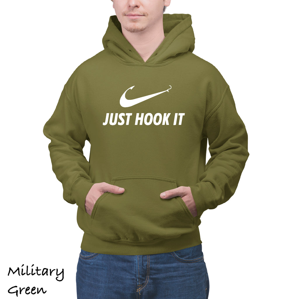 Unisex Hoodie JUST HOOK IT Great Gift Fishing Boat Funny Hooded Sweatshirt