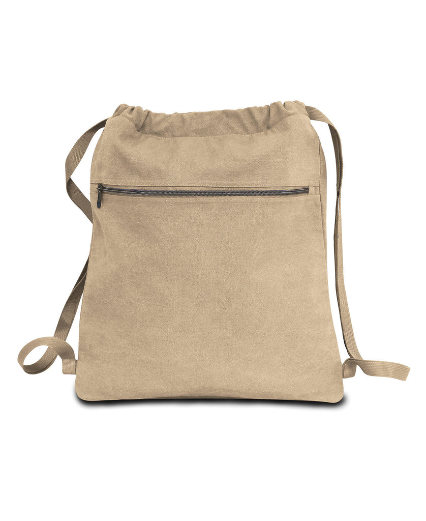 Liberty Bags Seaside Canvas 12 oz Pigment Dyed Drawstring Bag LB8877 - guyos apparel.com