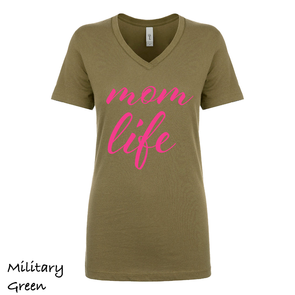 Woman's V-neck MOM LIFE Mother gift Funny sarcastic Gift light weight tee