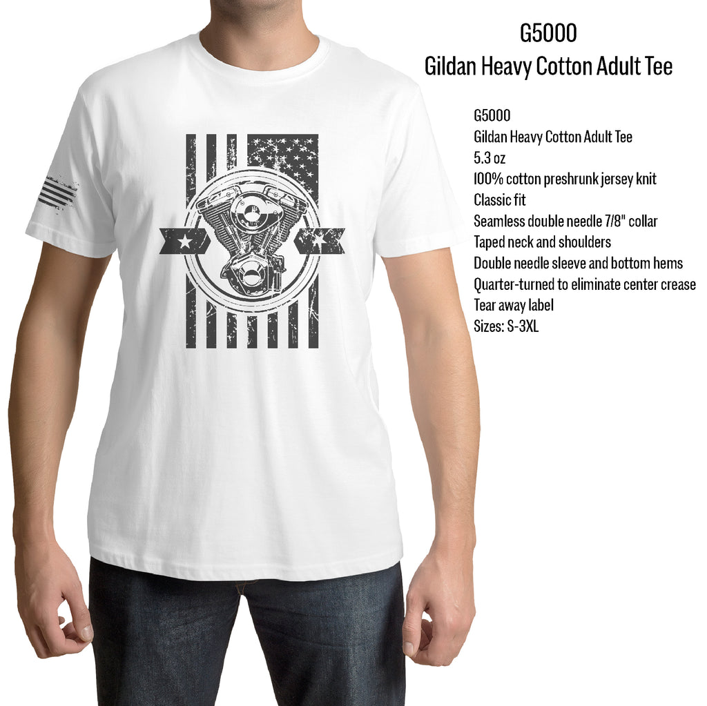 Front And Sleeve Motorcycle rider Engine motor t shirt American Distressed Flag Gift t shirt