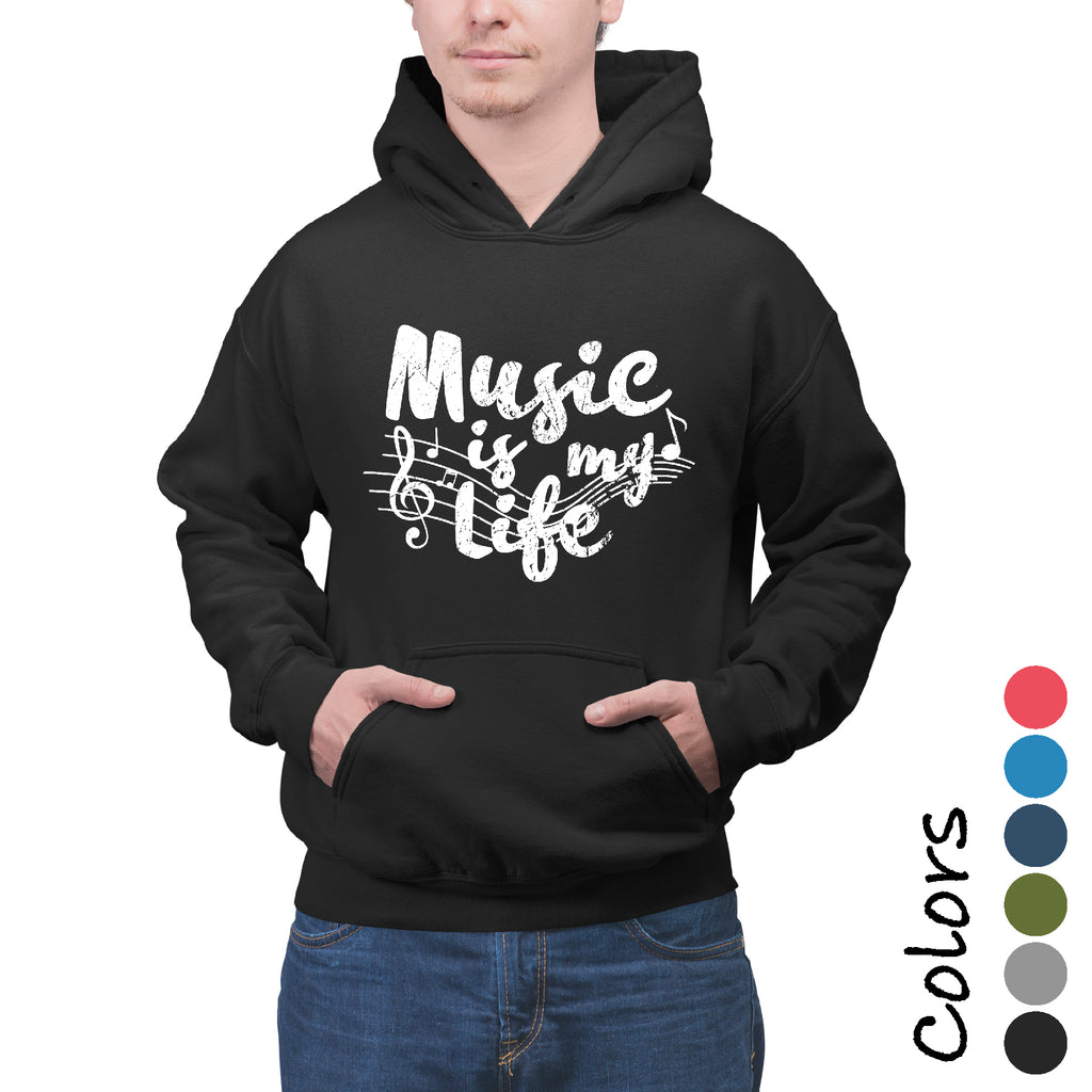 New Unisex Hoodie MUSIC IS MY LIFE Party Musician's College  sarcastic Hooded DJ Sweatshirt