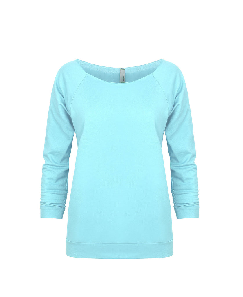 Next Level Women's French Terry Raw Edge 3/4 Raglan NL6951 - guyos apparel.com