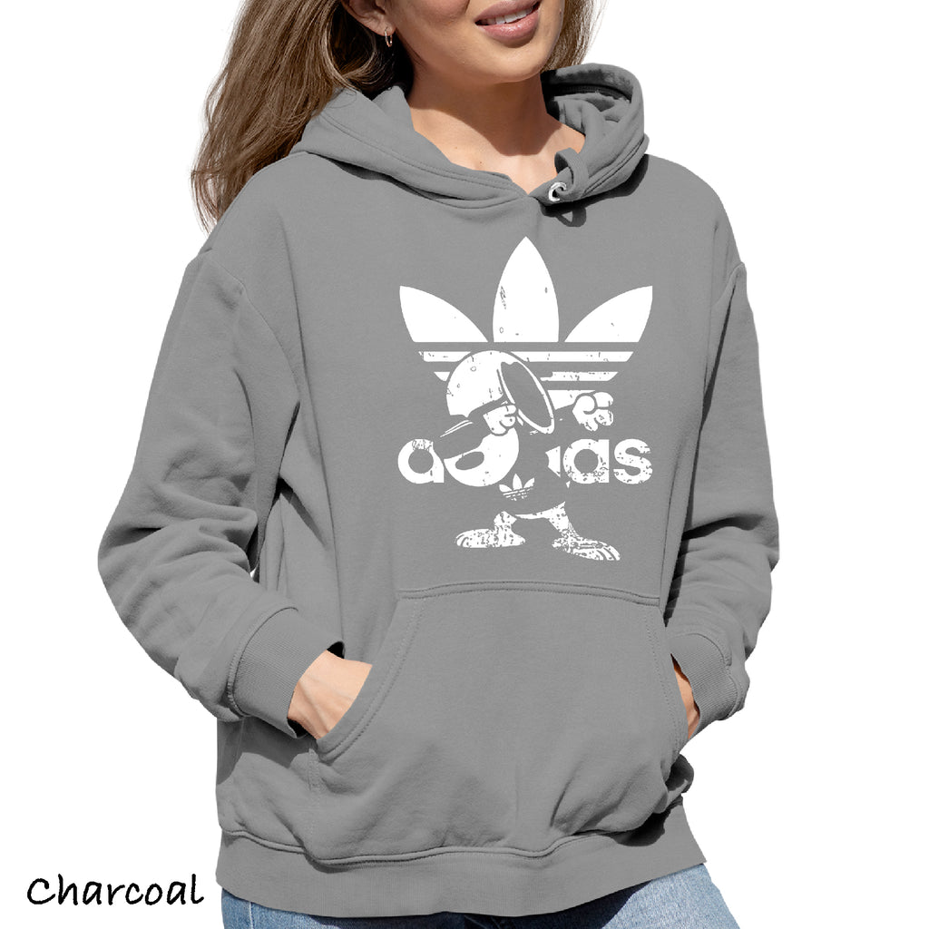 Woman's Hoodie Distressed Snoopy dubbing Adidas Sarcastic Adult Graphic Gift Idea Funny Novelty Hooded Sweatshirt