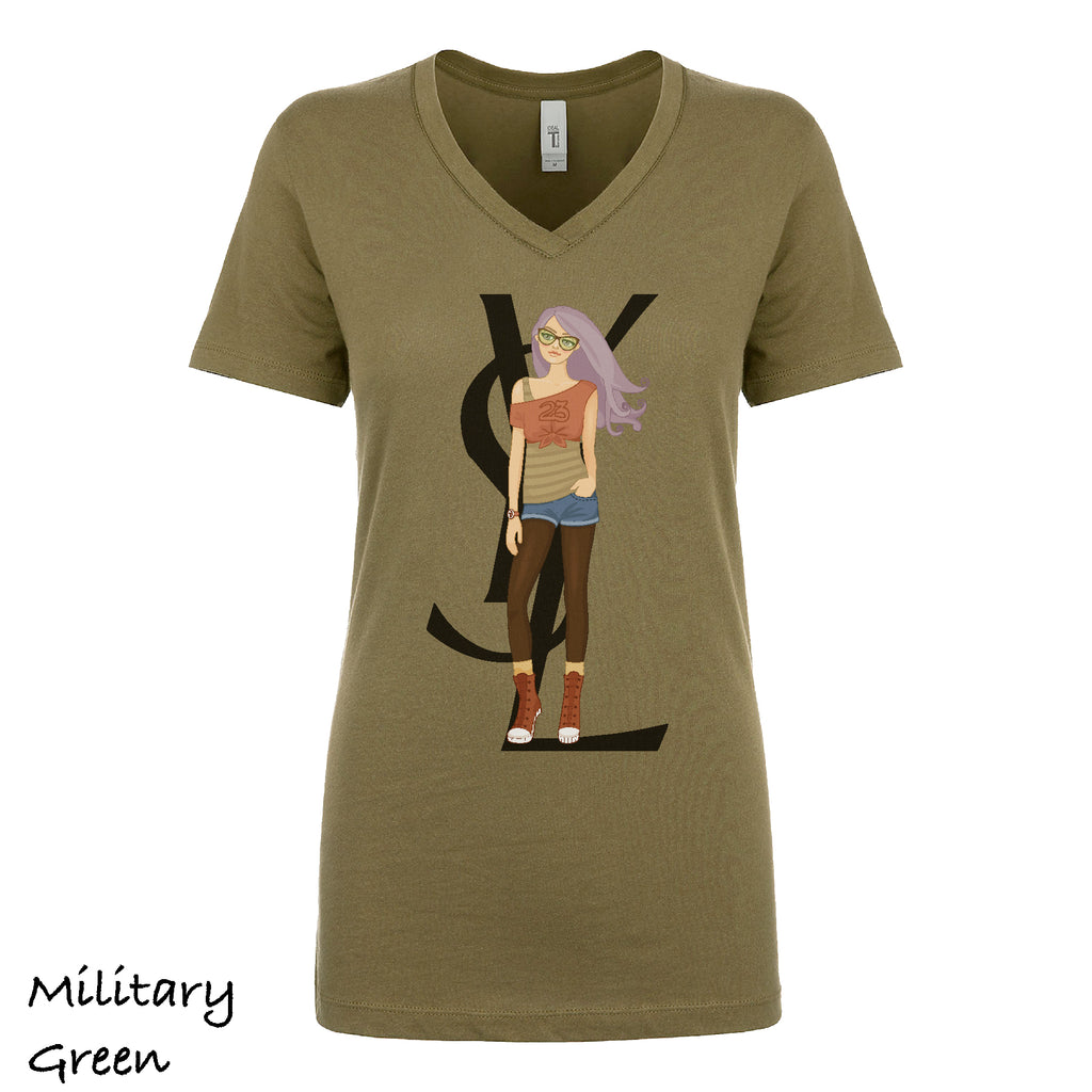 Woman's V-neck Settles Summer Ladies T-shirt fashion women Top woman Short sleeves