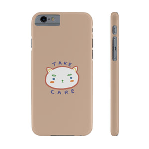 """take care."" phone case (peach)"