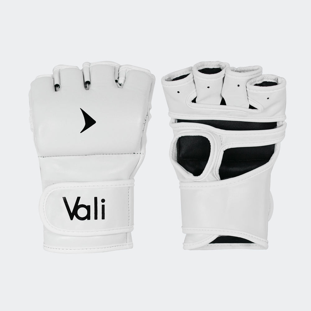 vali mma fight gloves Pro training sparring curved thumbless gloves white