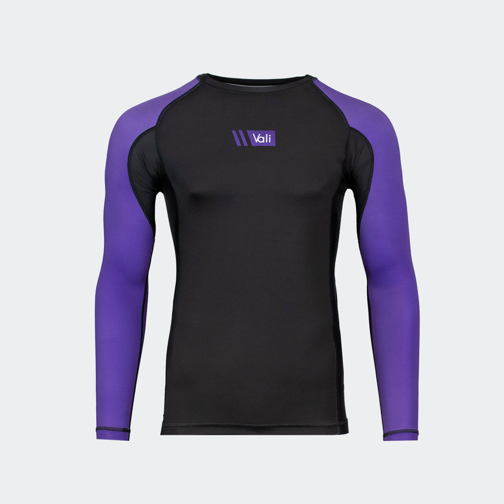 vali mma rash guard compression rashie for no gi ranked bjj jiu jitsu long sleeve black purple