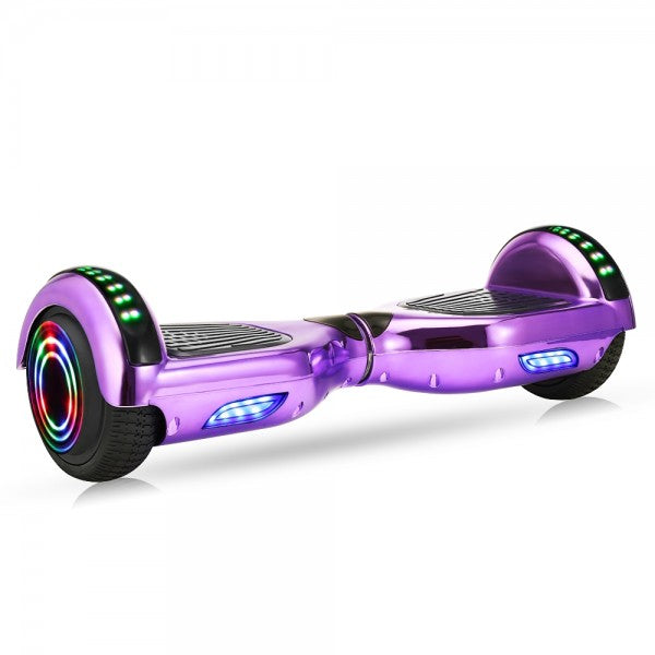 Plating M4-Purple | iScooter® Electrical Skateboard Hoverboard 6.5 inch Wheel with Led Bluetooth Speaker - Purple