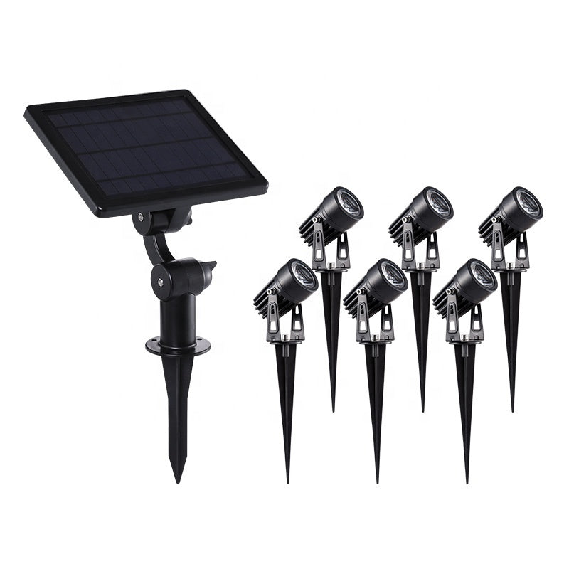 Aluminum Decorative 6 Head Led Solar Garden Pin Spot Light For Outdoor Wall Tree Lawn Flower