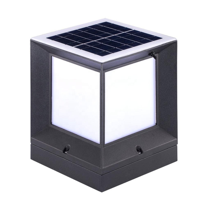 2W  15cm*15cm Bright White Modern Design Outdoor IP65 Waterproof Square Led Solar Powered Pillar Post Light for Gate Fence Garden